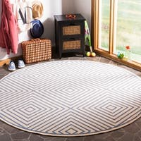 "Safavieh Linden Modern & Contemporary Cream / Blue Rug - 6'7"" x 6'7"" round"