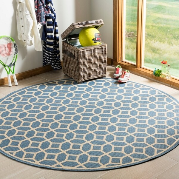 Safavieh Linden Modern & Contemporary Blue / Cream Rug (6'7' Round)