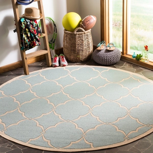 "Safavieh Linden Modern & Contemporary Aqua / Cream Rug - 6'7"" x 6'7"" round"