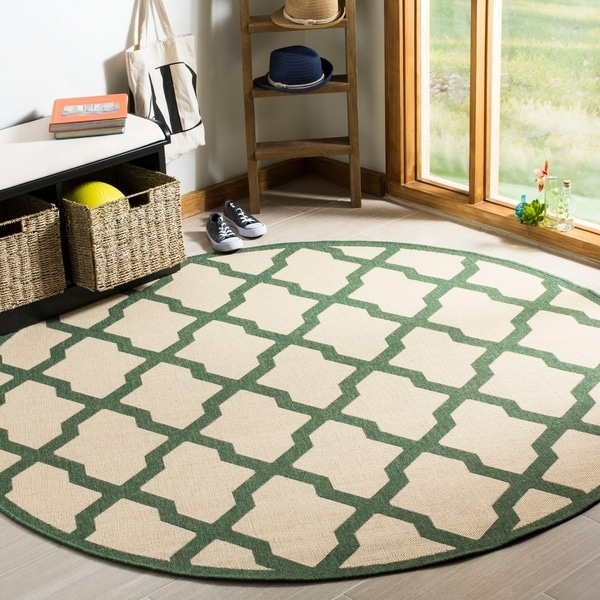 Safavieh Linden Modern & Contemporary Cream / Green Rug - 6' Round