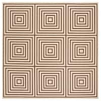 "Safavieh Linden Modern & Contemporary Cream / Brown Rug - 6'7"" x 6'7"" square"