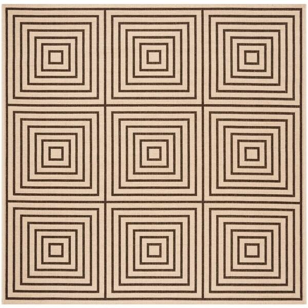 Safavieh Linden Modern & Contemporary Cream / Brown Rug (6'7' Square)