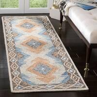 """Safavieh Hand-Tufted Micro-Loop Transitional Blue / Beige Wool Rug - 2'6"""" x 4'"""