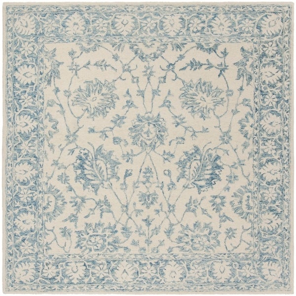 Safavieh Hand-Tufted Blossom Modern & Contemporary Ivory / Blue Wool Rug - 6' Square