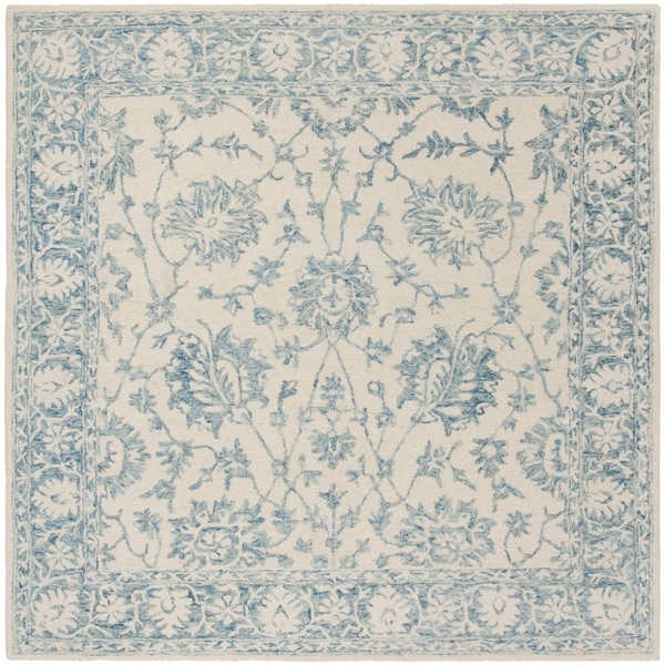 Safavieh Hand-Tufted Blossom Modern & Contemporary Ivory / Blue Wool Rug - 6' x 6' Square