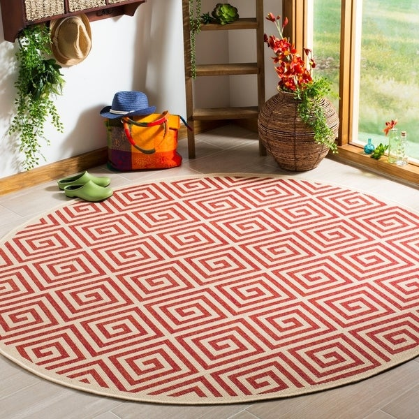 Safavieh Linden Modern & Contemporary Red / Cream Rug - 6' Round