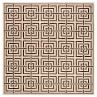 Safavieh Linden Modern & Contemporary Cream / Black Rug - 6' Square