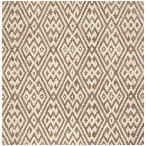 Safavieh Hand-Tufted Cambridge Modern & Contemporary Ivory / Grey Wool Rug - 6' x 6' Square