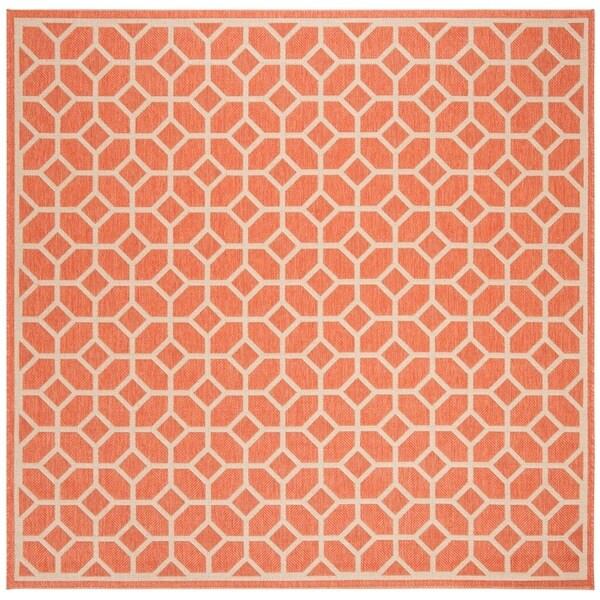 Safavieh Linden Modern & Contemporary Rust / Cream Rug (6'7' Square)