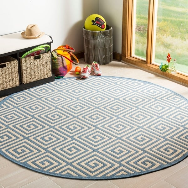 Safavieh Linden Modern & Contemporary Cream / Blue Rug - 6' Round