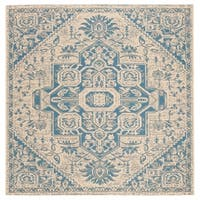 "Safavieh Linden Modern & Contemporary Blue / Cream Rug - 6'7"" x 6'7"" square"