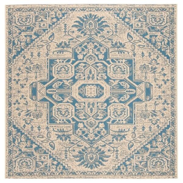 "Safavieh Linden Modern & Contemporary Blue / Cream Rug - 6'7"" x 6'7"" square"