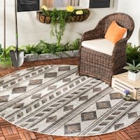 Safavieh Courtyard Modern & Contemporary Grey / Black Indoor Outdoor Rug - 7' Round