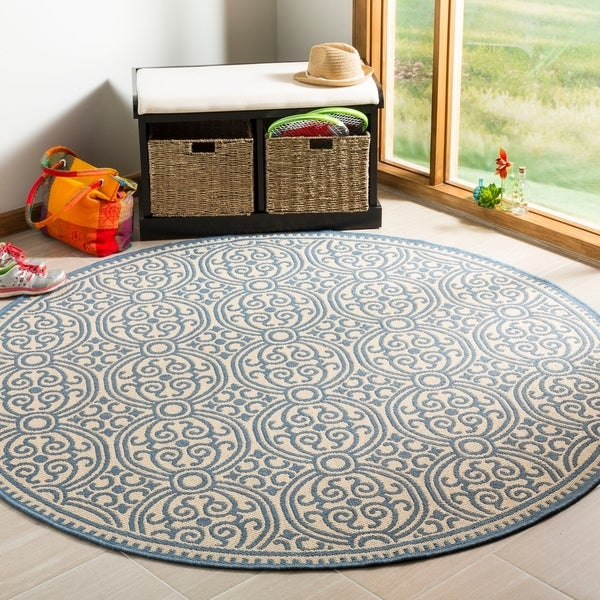 Safavieh Linden Modern & Contemporary Blue / Cream Rug - 6' Round