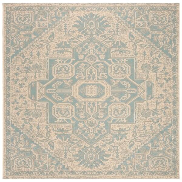 Safavieh Linden Modern & Contemporary Aqua / Cream Rug (6'7' Square)