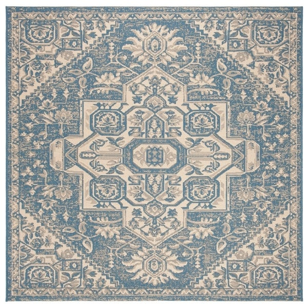 Safavieh Linden Modern & Contemporary Cream / Blue Rug - 6' Square