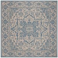 "Safavieh Linden Modern & Contemporary Cream / Blue Rug - 6'7"" x 6'7"" square"