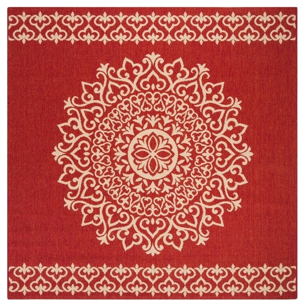 Safavieh Linden Modern & Contemporary Red / Cream Rug (6'7' Square)