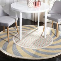 Safavieh Hand-Tufted Novelty Modern & Contemporary Ivory Blue / Rose Wool Rug - 4' Round