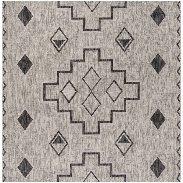 Safavieh Courtyard Modern & Contemporary Grey / Black Indoor Outdoor Rug - 7' Square
