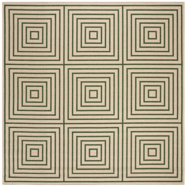 Safavieh Linden Modern & Contemporary Cream / Green Rug - 6' Square