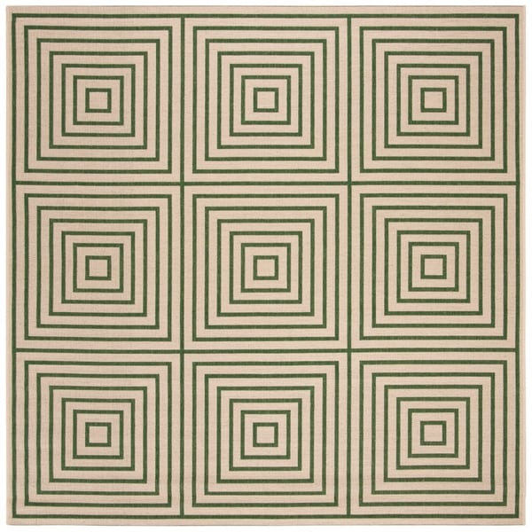 "Safavieh Linden Modern & Contemporary Cream / Green Rug - 6'7"" x 6'7"" square"