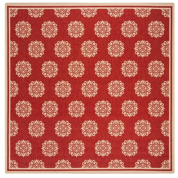 Safavieh Linden Modern & Contemporary Red / Cream Rug (6'7' Square)