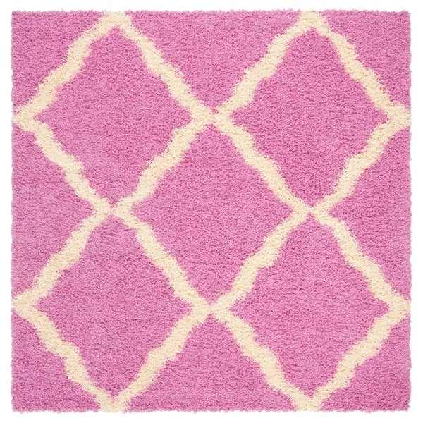 Safavieh Athens Shag Casual Pink / Ivory Rug - 6' Square