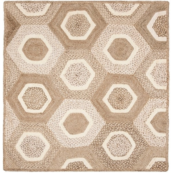 Safavieh Hand-Woven Natural Fiber Modern & Contemporary Grey / Ivory Jute Rug - 6' Square