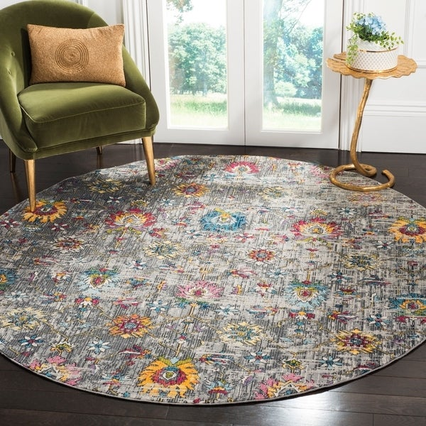Safavieh Merlot Modern & Contemporary Grey / Multi Rug (6'7' Round)
