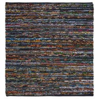 Safavieh Hand-Woven Rag Rug Casual Black / Red Cotton Rug - 6' Square