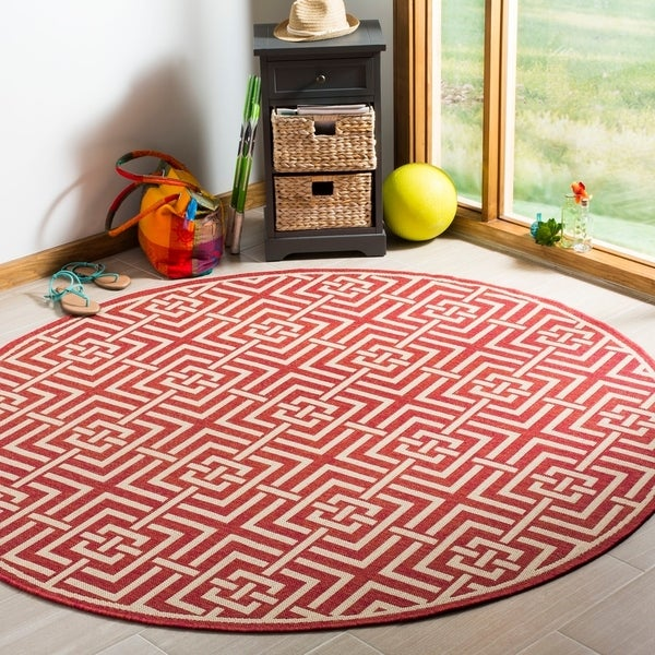 Safavieh Linden Modern & Contemporary Red / Cream Rug (6'7' Round)