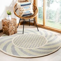 Safavieh Hand-Tufted Novelty Modern & Contemporary Ivory Blue / Gold Wool Rug - 4' x 4' Round