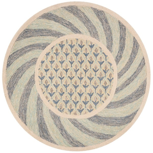 Safavieh Hand-Tufted Novelty Modern & Contemporary Ivory Blue / Gold Wool Rug - 4' Round