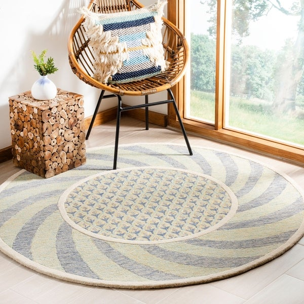 Safavieh Hand-Tufted Novelty Modern & Contemporary Ivory Blue / Gold Wool Rug - 6' Round