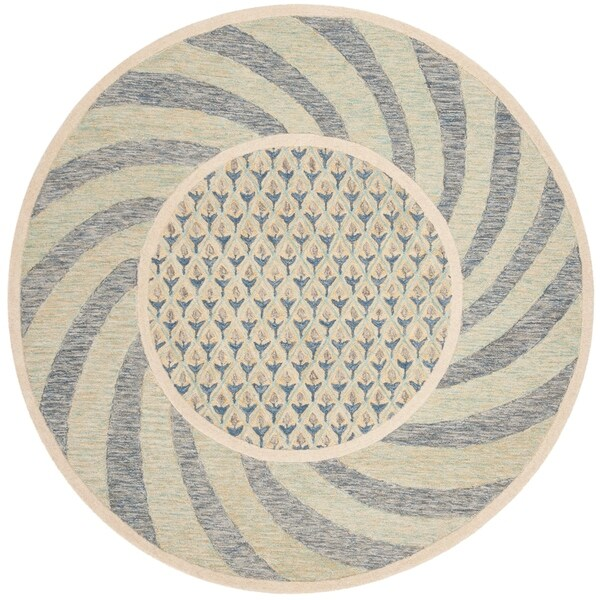 Safavieh Hand-Tufted Novelty Modern & Contemporary Ivory Blue / Gold Wool Rug (6' Round)