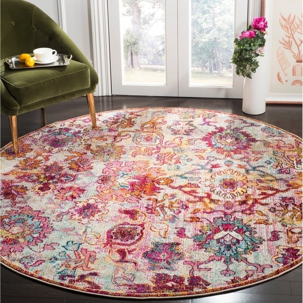 Safavieh Savannah Bohemian & Eclectic Cream / Orange Polyester Rug - 7' Round