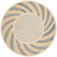 Safavieh Hand-Tufted Novelty Modern & Contemporary Ivory Blue / Rose Wool Rug - 6' Round