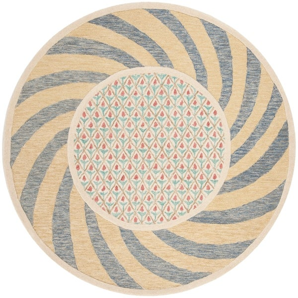 Safavieh Hand-Tufted Novelty Modern & Contemporary Ivory Blue / Rose Wool Rug (6' Round)
