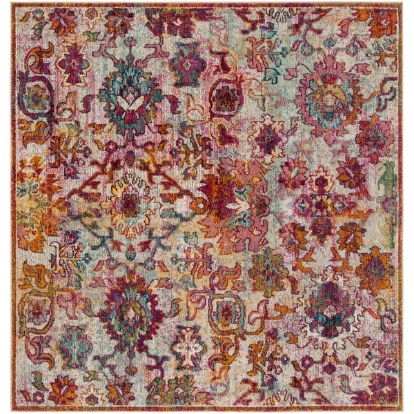 Safavieh Savannah Bohemian & Eclectic Cream / Orange Polyester Rug - 7' x 7' Square