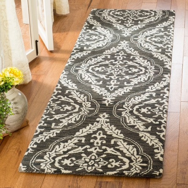 Safavieh Hand Tufted Blossom Modern Contemporary Charcoal Ivory Wool Runner Rug
