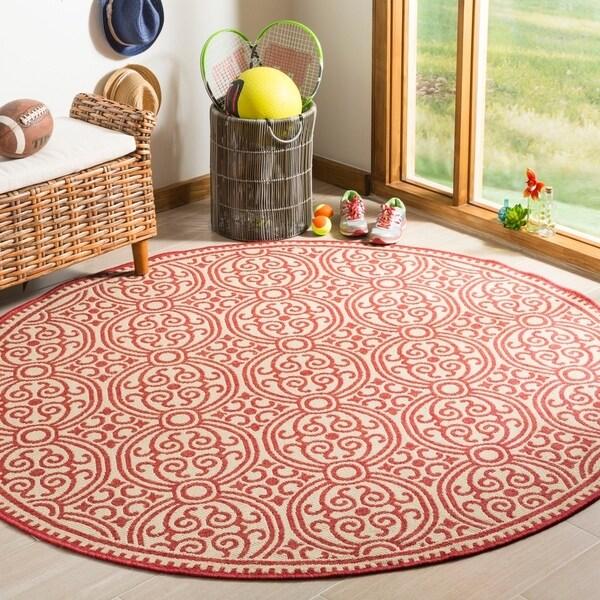 Safavieh Linden Modern & Contemporary Red / Cream Rug - 6' Round