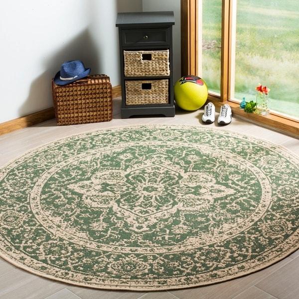 Safavieh Linden Modern & Contemporary Green / Cream Rug - 6' Round