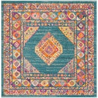 "Safavieh Madison Vintage Light Blue / Orange Rug - 6'7"" x 6'7"" square"