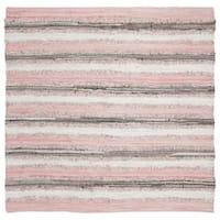 Safavieh Hand-Woven Montauk Modern & Contemporary Pink / Multi Cotton Rug - 6' Square