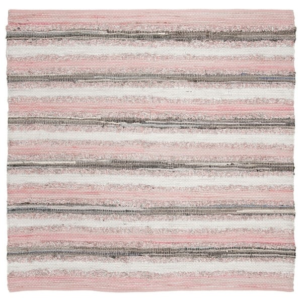 Safavieh Hand-Woven Montauk Modern & Contemporary Pink / Multi Cotton Rug - 6' Square