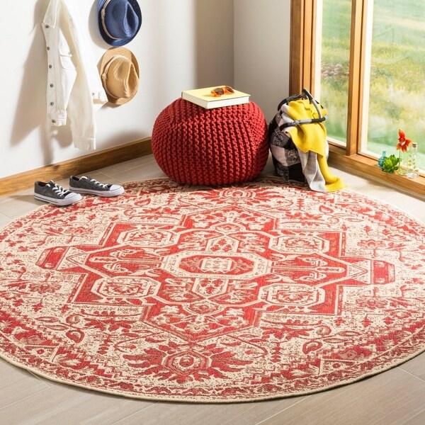 Safavieh Linden Modern & Contemporary Red / Cream Rug (6'7' Round)