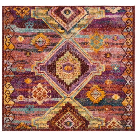 Safavieh Savannah Bohemian & Eclectic Red / Violet Polyester Rug - 7' x 7' Square