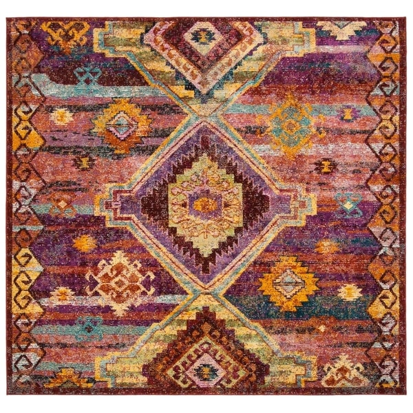 Safavieh Savannah Bohemian & Eclectic Red / Violet Polyester Rug (7' Square)