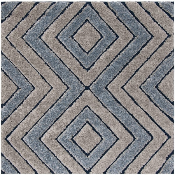 Safavieh Memphis Shag Grey / Blue Rug - 6' Square
